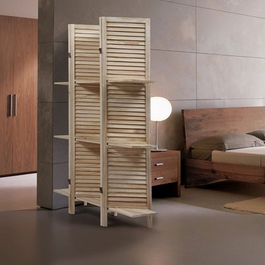 solid wood folding screen room divider with shelves