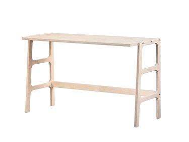 wood minimalist Scandinavian desk on white background