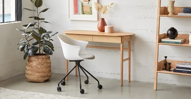 oak Scandinavian desk with oval top and two drawers