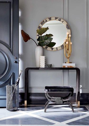 hallway mirror brass bone inlay