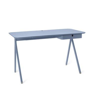 minimalist Scandinavian desk in light blue with storage drawer