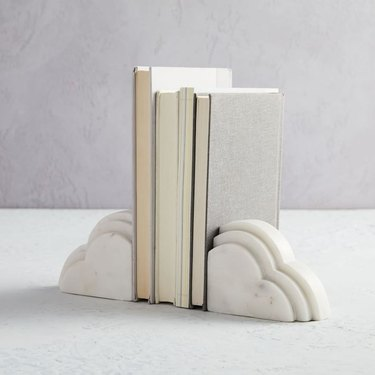 cloud marble bookends with books in between