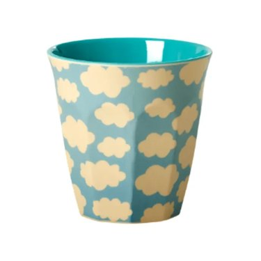 blue melamine cup with cloud print