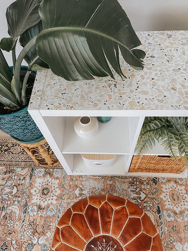 This removable wallpaper has a faux terrazzo finish.