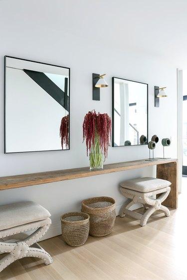 hallway mirror double mirrors