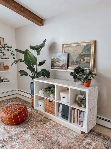 Style your up-cycled IKEA Kallax shelf with all of your favorite plants, décor, and books to finish.
