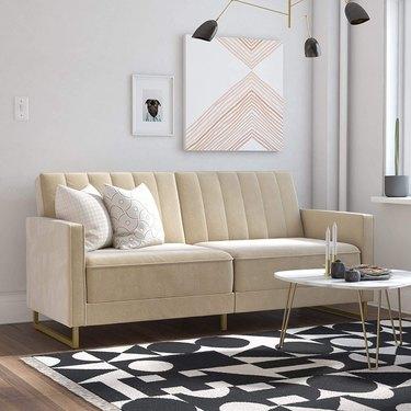velvet tufted sofa bed