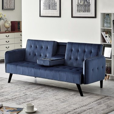 velvet button tufted fold down sleeper sofa bed