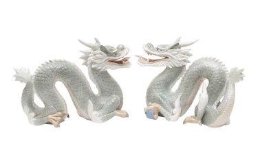Chinese Porcelain Dragon Statuettes or Bookends