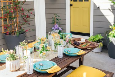 outdoor patio table beautifully decorated
