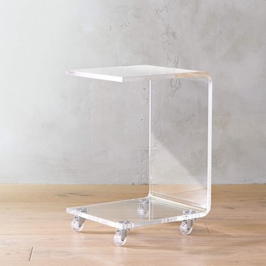 acrylic c-shaped table with wheels