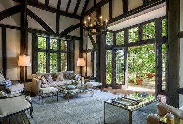 ariana grande montecito house living room with patio