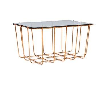 metal grid coffee table with smoke glass top