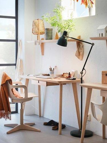 Scandinavian desk for home office by IKEA
