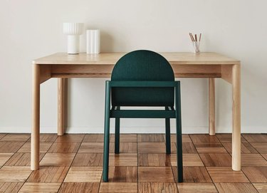 Scandinavian desk for home office with green chair