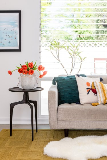 bright boho styled living room