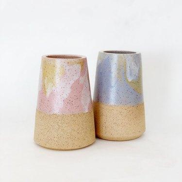 Object-Matter Ceramic marbled sorbet cone vase