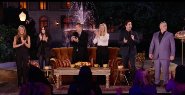 cast of 'Friends' TV show in front of couch