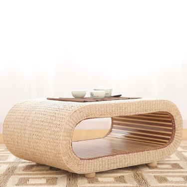 straw coffee table with storage