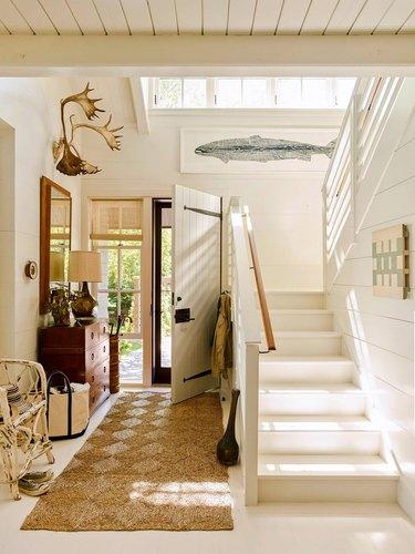 shiplap wall ideas in stairwell