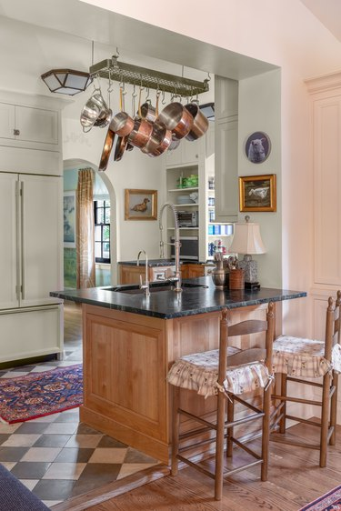 kitchen island with table lamp designed by M. Lavender Interiors