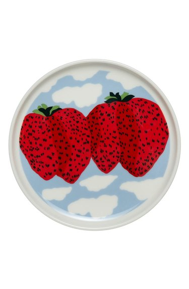 plate with cloud and strawberry pattern