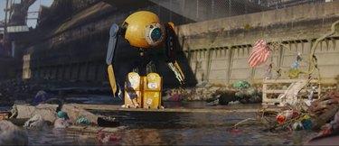 screenshot of IKEA ad showing a robot near trash