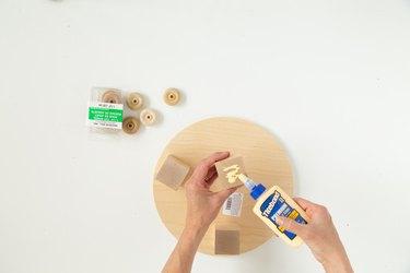 Glue onto wood block for DIY plant riser