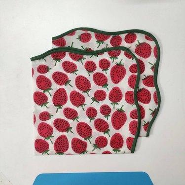strawberry patterned dinner napkins