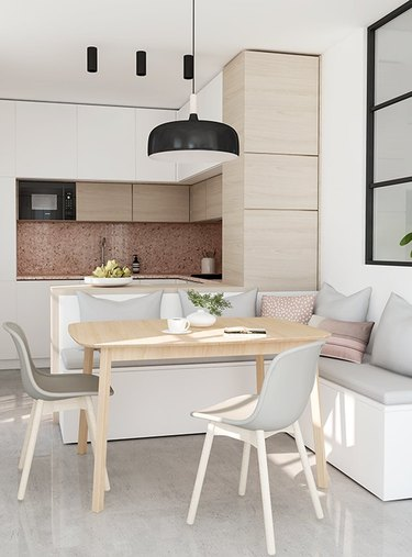 Kitchen with banquette dining area