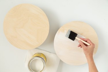 Painting stain on DIY wood plant riser