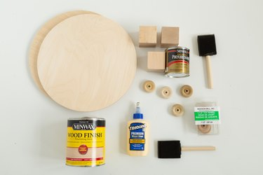 Materials and supplies for DIY wood plant riser