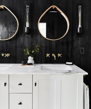 industrial bathroom backsplash with black walls