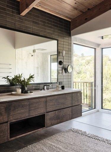 industrial bathroom backsplash with large vanity