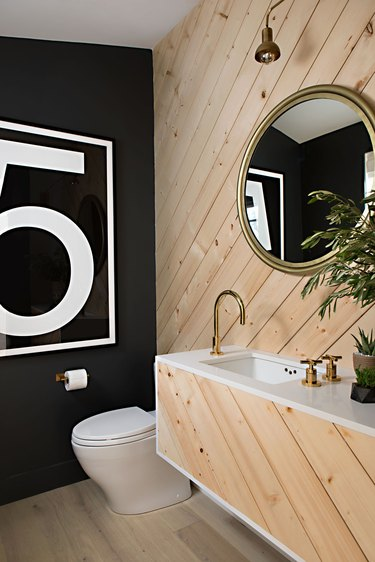 industrial bathroom backsplash with wood wall