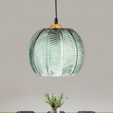 Green retro glass pendant light.