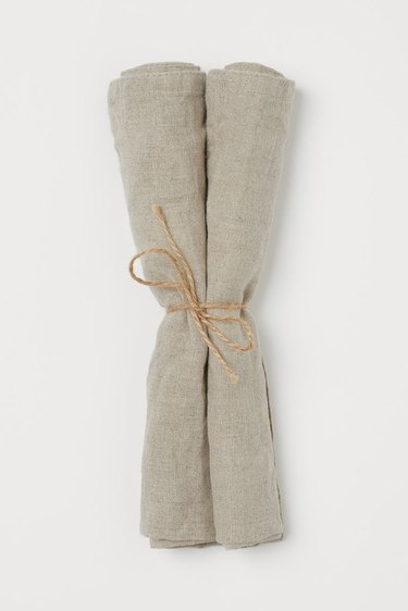 Two Neutral Solid Linen Napkins
