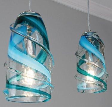 Blue swirl glass pendants.