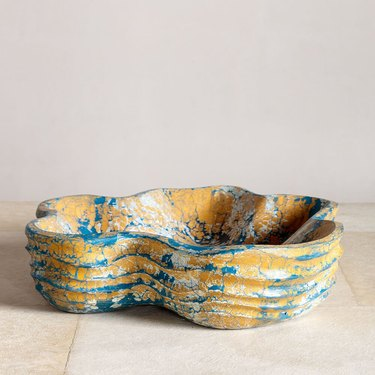 large bowl in multicolored pattern
