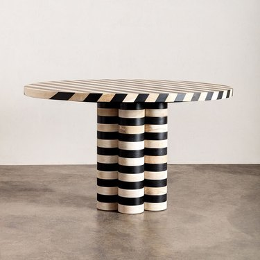 striped dining table