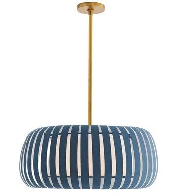 Modern blue and brass pendant light.
