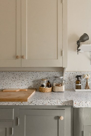 DIY kitchen countertop with contact paper