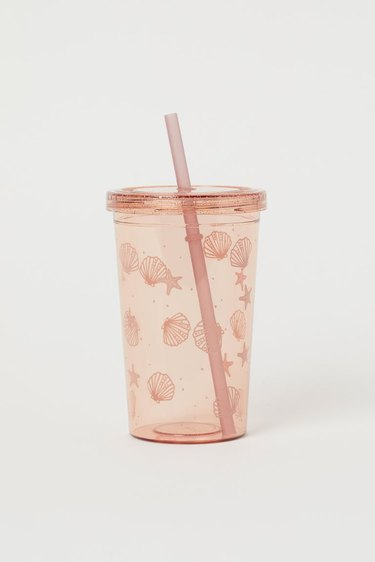 Plastic Tumbler with Pink Shell Design