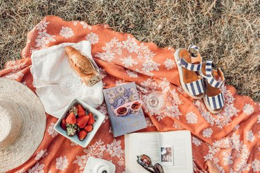 Brightly Colored Picnic Blanket with Food and Accessories