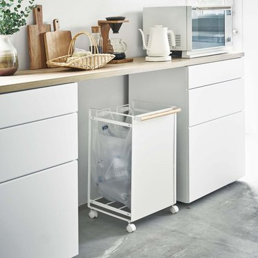 extra kitchen storage rolling trash sorter