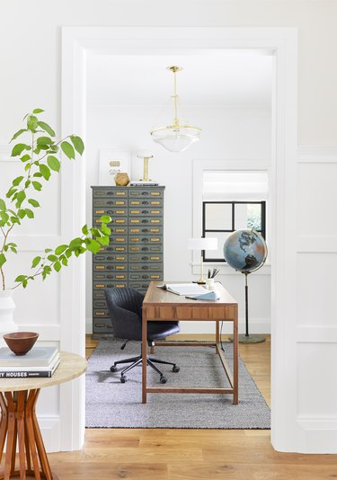 small office lighting in white room