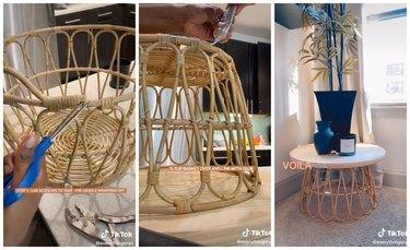 Basket Side Table ikea tiktok hack