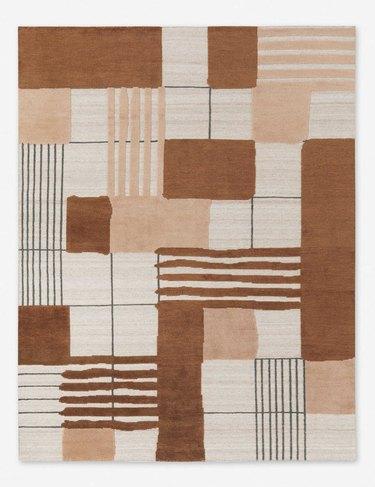geometric rug in various colors