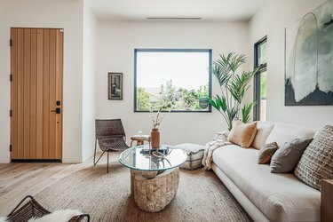 living room with palm plant in corner