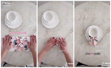 tiktok cottagecore bow teacup napkin hack